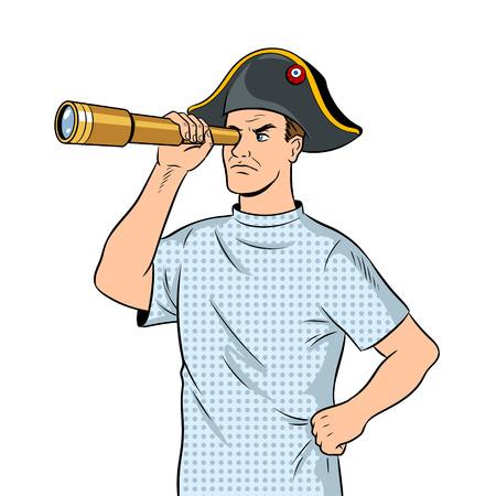 Mentally ill man as pirate Napoleon pop art vector Stock Illustratie