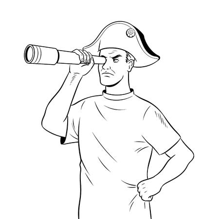 Man as pirate Napoleon coloring vector