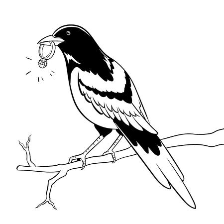 Ekster vogel met gouden ring vector kleurplaten