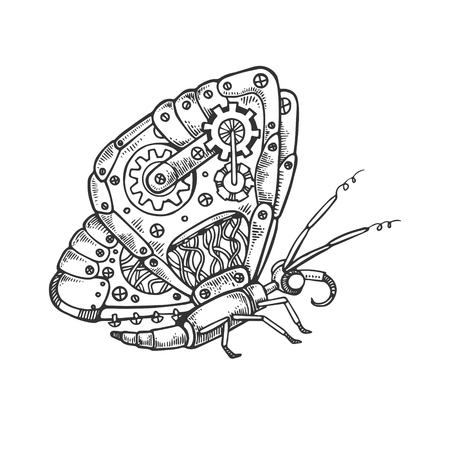 Mechanical butterfly animal engraving vector Illustration