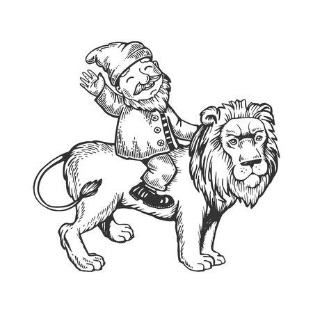 Gnome on lion engraving vector illustration Ilustrace