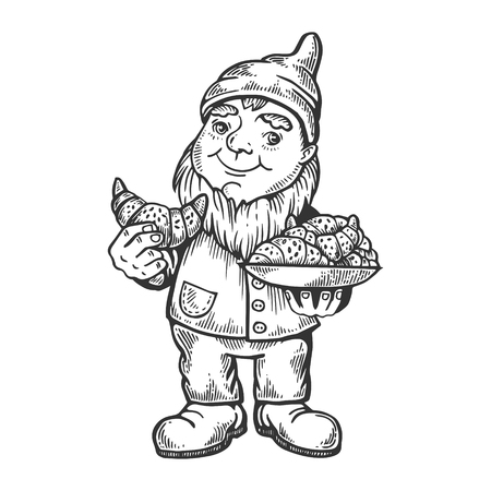 Gnome with croissant engraving vector illustration