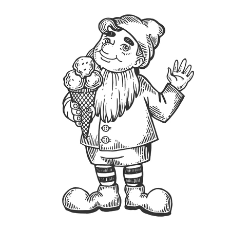 Gnome with ice cream engraving vector illustration