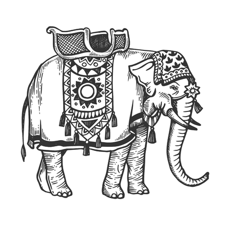 Indian elephant engraving vector illustration Illustration