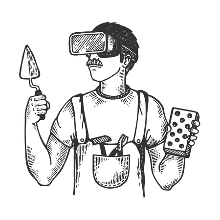 Builder in virtual reality helmet engraving vector  イラスト・ベクター素材
