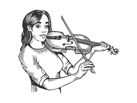 Girl and violin engraving vector illustration