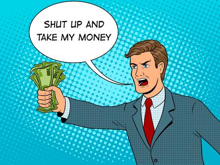 Schreeuwende man en geld popart vectorillustratie
