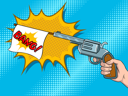 Pistol with white flag comic book pop art vector Stockfoto - 102490589