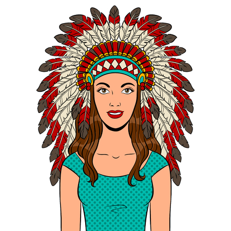 Woman in Native American traditional headdress with feathers pop art retro vector illustration. Isolated image on white background. Comic book style imitation.