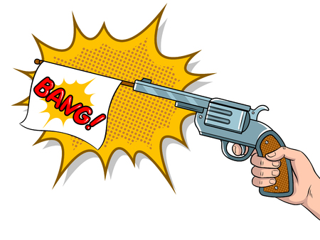 Pistol with white flag imitation shooting pop art retro vector illustration. Isolated image on white background. Comic book style imitation.