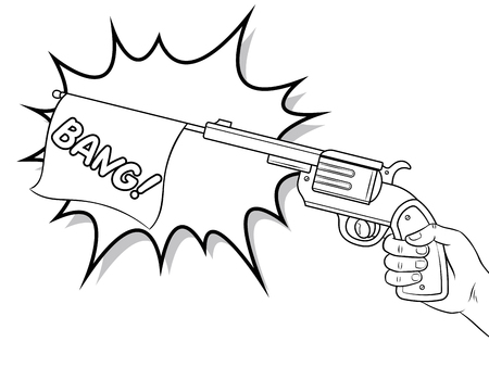 Pistol with white flag comic book coloring vector