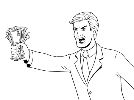 Shouting man and money coloring vector