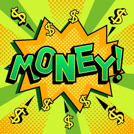 Money word comic book pop art vector illustration