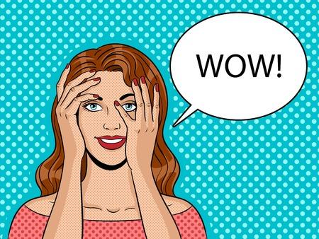 Girl peeking hands pop art vector illustration 版權商用圖片