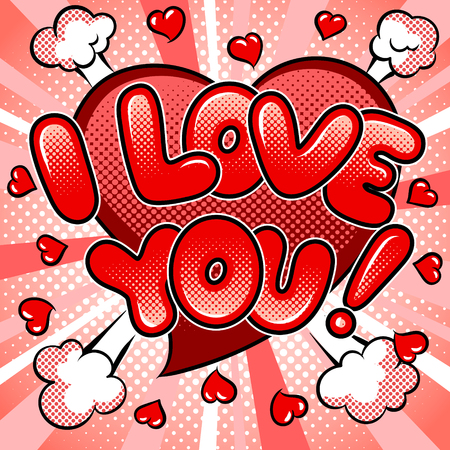 I love you words comic book pop art vector