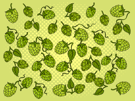 Hops background cartoon retro vector illustration. Color background. Comic book style imitation. Illustration