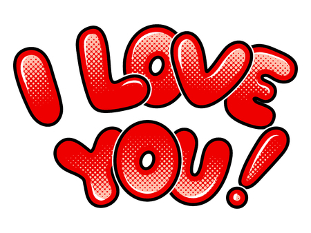 I love you words comic book pop art vector Фото со стока - 103626511