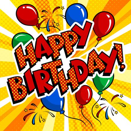 Happy birthday word comic book pop art vector Imagens