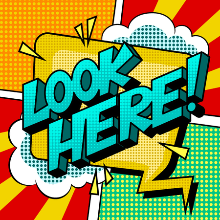 Look here word comic book pop art vector