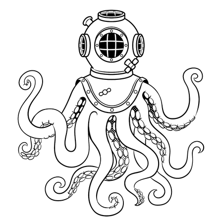 Octopus and old diver helmet coloring vector Banque d'images - 103334073