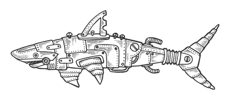 Mechanical shark animal engraving vector