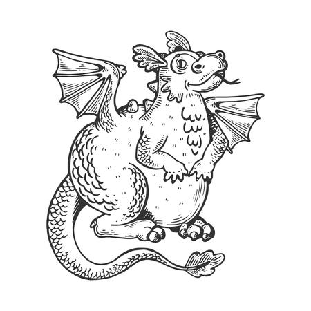 Cartoon dragon animal engraving vector illustration. Scratch board style imitation. Black and white hand drawn image. Illustration