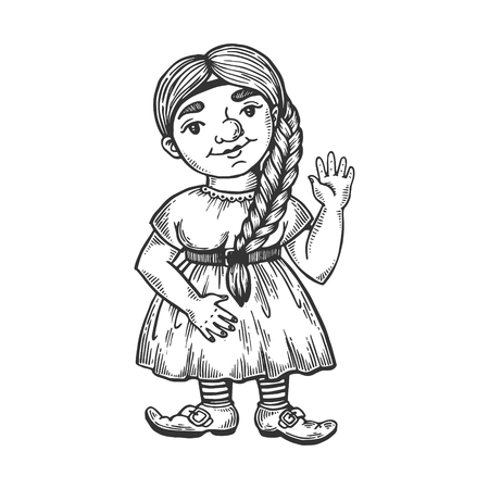 Gnome girl engraving vector illustration. Wroclaw symbol mascot. Scratch board style imitation. Black and white hand drawn image.