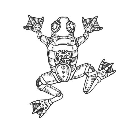 メカニカルカエル動物彫刻ベクトルイラスト。スクラッチボードスタイルの模倣。黒と白の手描きのイメージ。