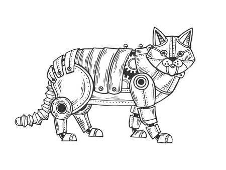 Mechanical cat animal engraving vector illustration. Scratch board style imitation. Black and white hand drawn image.
