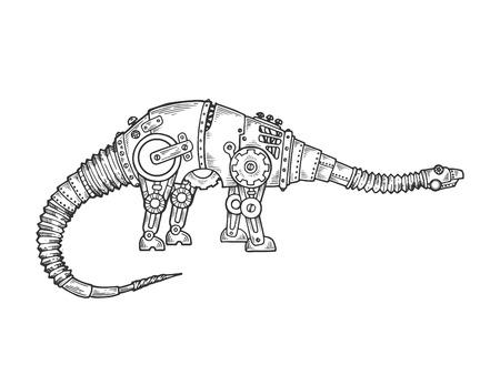 メカニカルディプロドクス恐竜動物彫刻ベクトルイラスト。スクラッチボードスタイルの模倣。黒と白の手描きのイメージ。 ベクターイラストレーション