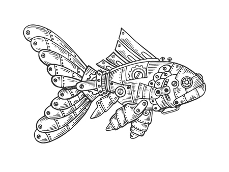 Mechanical fish animal engraving vector illustration. Scratch board style imitation. Black and white hand drawn image.