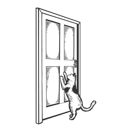 Cat near door engraving vector illustration