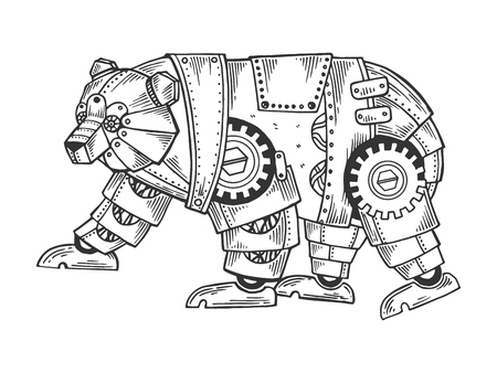 Mechanical bear animal engraving vector illustration. Scratch board style imitation. Black and white hand drawn image.