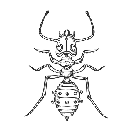 Mechanical ant insect animal engraving vector illustration. Scratch board style imitation. Black and white hand drawn image.