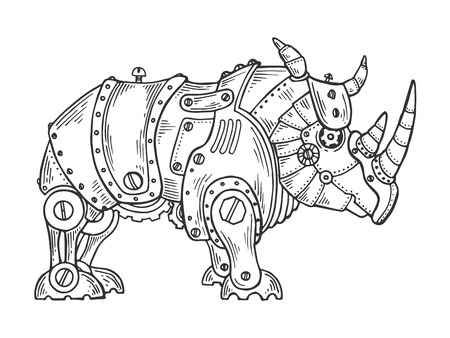 Mechanical rhinoceros animal engraving vector illustration. Scratch board style imitation. Black and white hand drawn image.