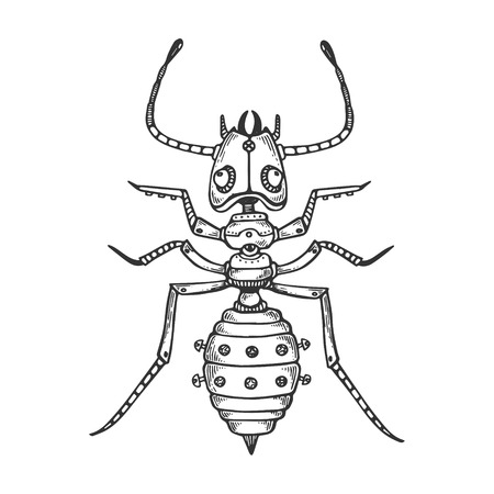 Mechanical ant animal engraving vector