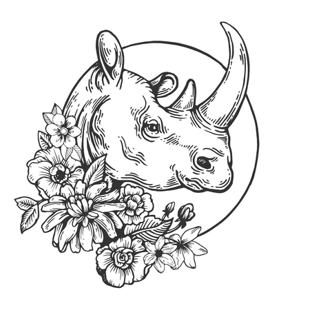 Rhinoceros animal engraving vector illustration. Scratch board style imitation. Black and white hand drawn image.
