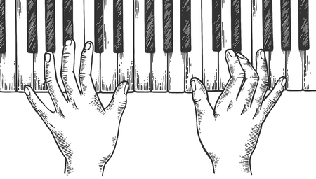 Hands and piano engraving vector illustration