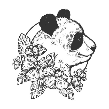 Panda bear animal engraving vector illustration. Scratch board style imitation. Black and white hand drawn image. Banco de Imagens