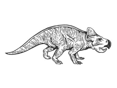 Protoceratops dinosaur prehistoric extinct animal engraving vector illustration. Scratch board style imitation. Black and white hand drawn image. Illustration