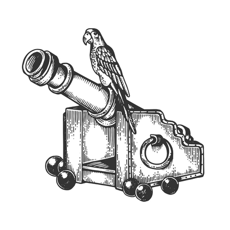 Papagei auf Kanonenstich-Vektorillustration. Nachahmung im Scratchboard-Stil. Handgezeichnetes Schwarz-Weiß-Bild.