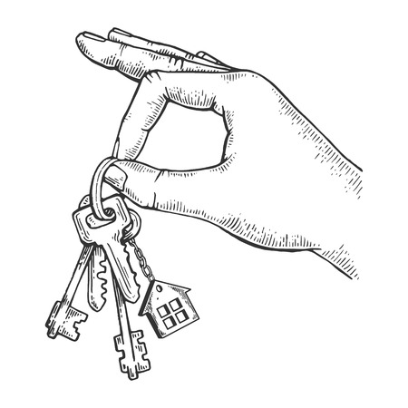 Keys in hand engraving vector illustration. Scratch board style imitation. Black and white hand drawn image. Foto de archivo - 112364949