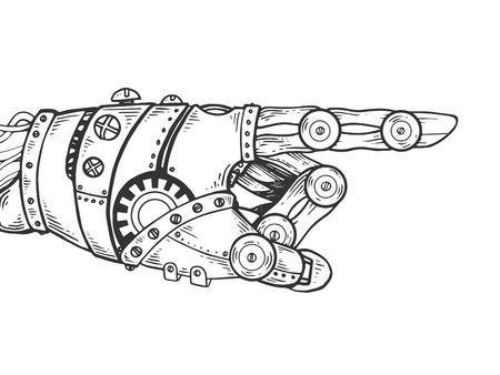 Robot hand engraving vector illustration