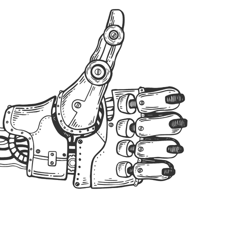 Mechanical human robot hand engraving vector illustration. Scratch board style imitation. Black and white hand drawn image. Illustration