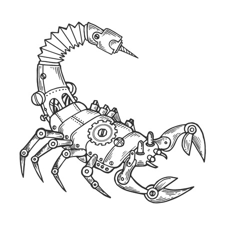 Mechanical scorpio animal engraving vector illustration. Scratch board style imitation. Black and white hand drawn image.