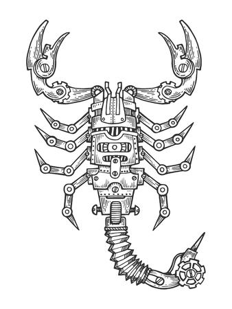 メカニカル・サソリギオ動物彫刻ベクトルイラスト。スクラッチボードスタイルの模倣。黒と白の手描きのイメージ。