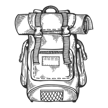 Tourist backpack engraving vector illustration. Scratch board style imitation. Black and white hand drawn image.