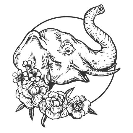 Ilustración de vector de grabado animal cabeza de elefante. Imitación de tablero de rascar. Imagen dibujada a mano en blanco y negro. Ilustración de vector