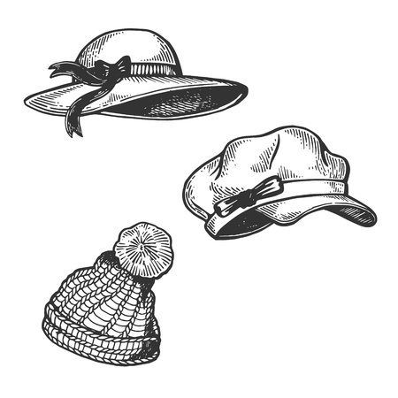 Woman Hats engraving vector illustration. Scratch board style imitation. Hand drawn image.