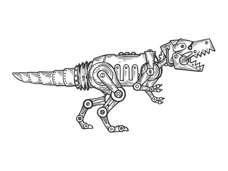 Meccanico Tyrannosaurus dinosauro animale incisione illustrazione vettoriale. Imitazione di stile scratch board. Immagine disegnata a mano in bianco e nero. Vettoriali